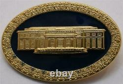 2020 President Donald Trump White House Gift Cobalt GOLD West Wing Brooch SIGNED