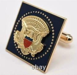 2020 President Donald Trump White House Gift GOLD Square Cobalt Cufflinks SIGNED
