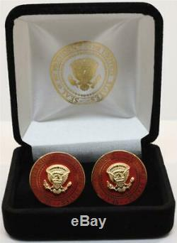 2020 President Donald Trump White House Gift RED POTUS Seal Cufflinks SIGNED