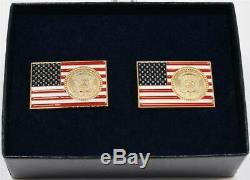 2020 President Donald Trump White House Gift US Flag POTUS Seal Cufflinks SIGNED