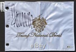 45th PRESIDENT DONALD J. TRUMP SIGNED TRUMP NATIONAL GOLF FLAG withBAS BECKETT