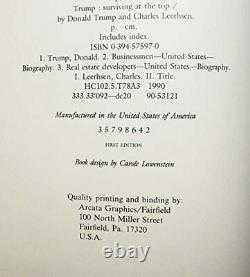 AUTOGRAPHED Donald J. Trump 1990 SURVIVING AT THE TOP Signed First Edition Book