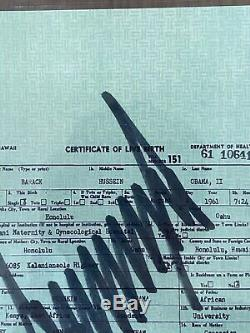 Barack Obama's Birth Certificate Signed By Donald Trump, Beckett Certified, Rare