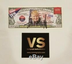 DONALD TRUMP Hand Signed Campaign Ad One Million Dollar Bill Autograph with COA