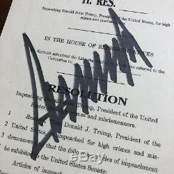 DONALD TRUMP JSA LOA Souvenir ARTICLES OF IMPEACHMENT Signed Autograph