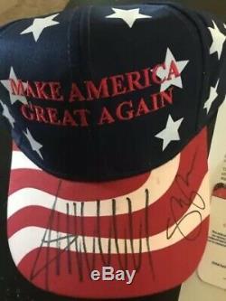 DONALD TRUMP & MIKE PENCE DUAL SIGNED 2016 Red MAGA HAT Global GA COA LOA $$$