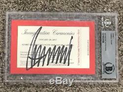 DONALD TRUMP SIGNED Official Red Inauguration Ticket Beckett Encapsulated COA