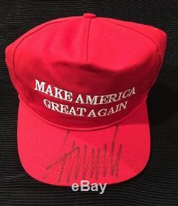 DONALD TRUMP SIGNED USA MADE CALI-FAME RED MAGA HAT Beckett COA LOA $$$