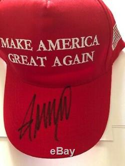 DONALD TRUMP signed MAKE AMERICA GREAT AGAIN HAT AUTOGRAPH 45th president of usa