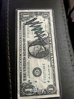 Donal Trump double autographed dollar bill front and back $900 book value