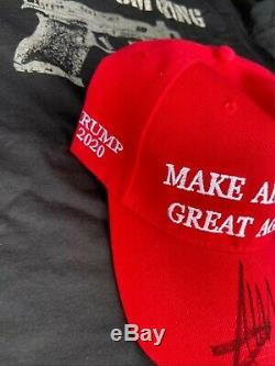 Donald Trump 2020 Signed Maga Hat NEW with Let Freedom Ring tshirt size XL