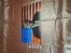 Donald Trump American Portrait Flag Metal Art Steel Sign Home Decor 24x13.5
