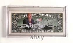 Donald Trump Autographed $1,000,000 Campaign Bill Protective Case PAAS COA