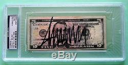 Donald Trump Hand Signed Crisp Five Dollar ($5.00) Bill Psa/dna Authenticated