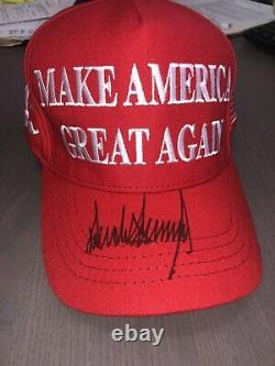 Donald Trump Hand Signed Official MAGA Red SnapBack Hat President Autographed