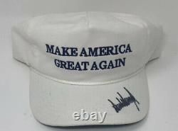 Donald Trump Hand Signed Official MAGA White SnapBack Hat President Autographed