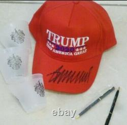 Donald Trump Hat Hand Signed WithCOA Autograph RED MAGA KAG CAP + Golf Extras