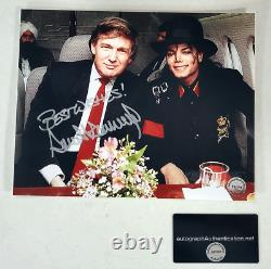 Donald Trump Signed Autographed Photo with COA With Michael Jackson President
