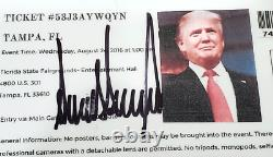 Donald Trump Signed Autographed Rally Ticket with COA Tampa, FL President