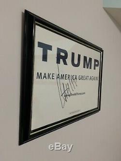 Donald Trump Signed Campaign Poster FRAMED (NO COA)