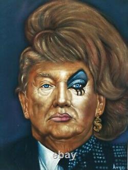 Donald Trump in Drag Dragrace crossdress Original Oil Painting Black Velvet A387