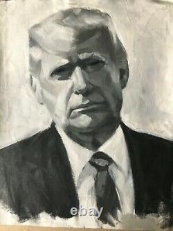 Oil portrait of Donald Trump by Sarah Mariam Yi black and white art 16x20 size