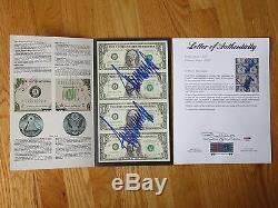 One of a Kind President DONALD TRUMP signed 2x UNCUT $1 Dollar Bills SHEET PSA