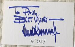 PRESIDENT DONALD TRUMP 45 President HAND SIGNED CARD WithCOA