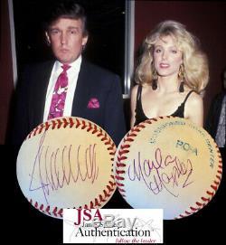 PRESIDENT DONALD TRUMP & MARLA MAPLES DUAL SIGNED A. L. Baseball! JSA LOA
