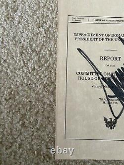 PRESIDENT DONALD TRUMP SIGNED 6 x 9.25 ARTICLES OF IMPEACHMENT COVER BECKETT