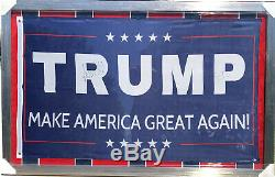 President DONALD TRUMP & MIKE PENCE Signed Autographed Campaign Flag BECKETT BAS