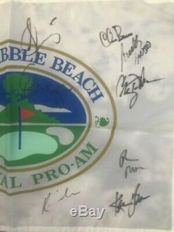 President Donald Trump Kevin Costner +12 Signed Pebble Beach Golf Flag JSA Auto