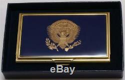 President Donald Trump Resolute Desk Eagle Metal Business Card Holder SIGNED