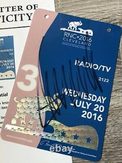 President Donald Trump Signed 2016 Election RNC Convention Pass Beckett BAS COA