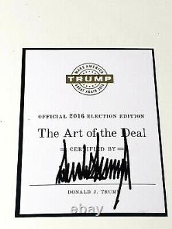 President Donald Trump Signed Book The Art Of The Deal Official 2016 Election