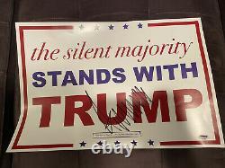 President Donald Trump Signed Campaign Rally Sign Silent Majority COA PSA/DNA