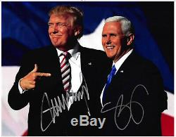 President Donald Trump & Vice President Mike Pence Signed Autographed 8X10 WithCO