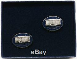 President Donald Trump White House Gift Oval Cobalt Cufflinks SIGNED