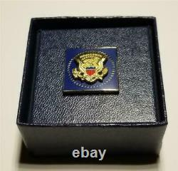 President Donald Trump White House Gift Square Cobalt Blue Lapel Pin SIGNED