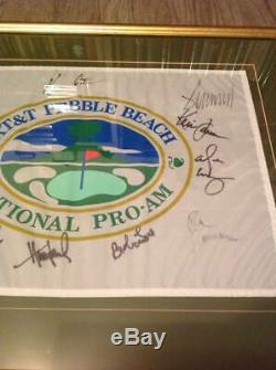 RARE 2001 AT&T PEBBLE BEACH PRO AM FLAG SIGNED x 12 DONALD TRUMP KEVIN COSTNER+