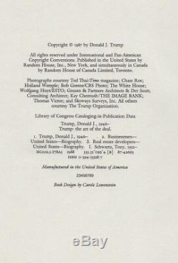 Trump The Art Of The Deal (1987) Donald J. Trump, Signed To Joe, 1st Edition