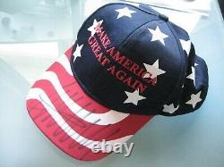 U. S. Flag MAGA Hat RARE Signed Donald Trump PSA DNA Auto Make America Great
