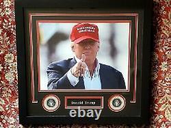 Xlarge President Donald Trump Signed Autographed Photo Professional Frame Coa