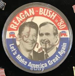 1980 Ronald Reagan Make Amérique Grande Again Maga Trump Pin-back Bouton Signé