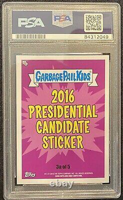 2016 Garbage Pail Kids Donald Dump 1/1 Donald Trump Cut Autograph Psa 8 Un Seul