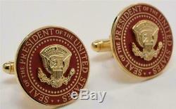 2020 Président Donald Trump Maison Blanche Cadeau Red Potus Sceau Signe Boutons De Manchette
