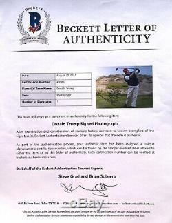 45e Président Donald J. Atout Photo Signee 11x14 America Maga Beckett Bas Golf