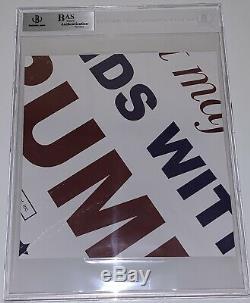 Affiche De Campagne Signée Par Donald Trump, Coupe, Signée, Sur Une Dalle, Signée Bas Beckett