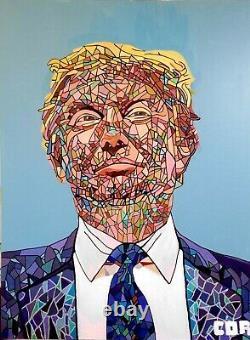 Arte Corbellique Amérique Originale Mosaïque Donald Trump Large Patriot Décor Mosaique