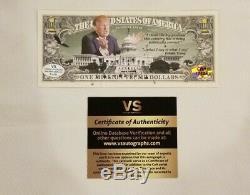Atout Signée À La Main Donald Campagne Publicitaire Un Million Dollar Bill Autograph Avec Coa